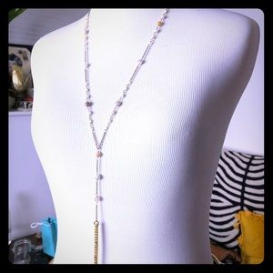 Chan Luu gold Pendant and Scolecite necklace